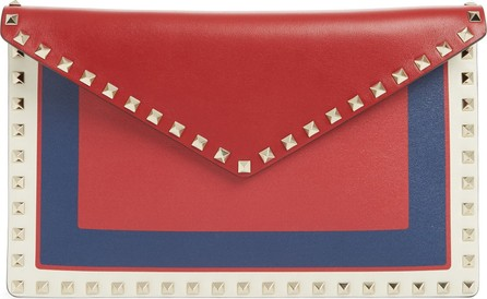 Valentino Large Rockstud Calfskin Leather Envelope Pouch