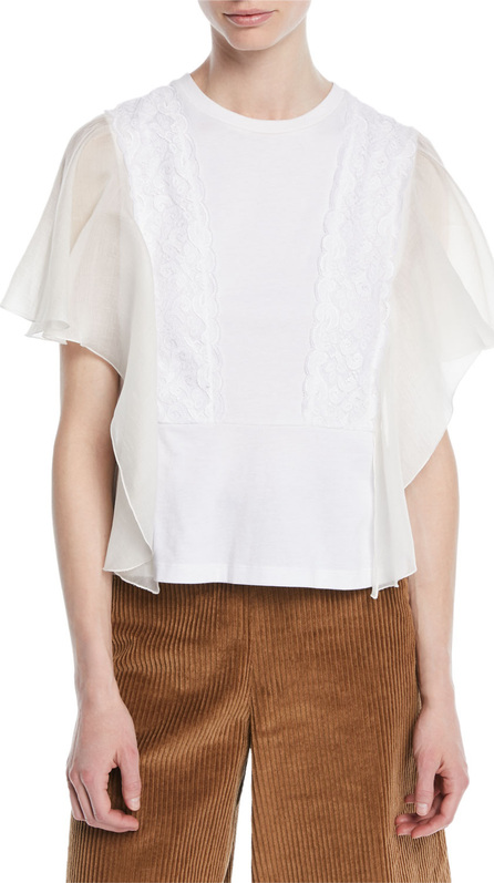 See By Chloé Sleeveless Lace Ruffle Top