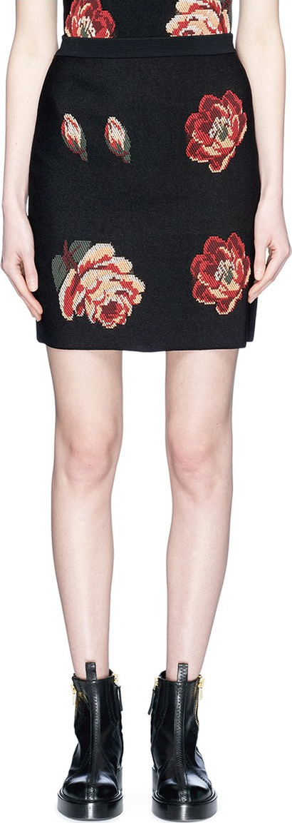 Alexander McQueen Rose jacquard knit skirt