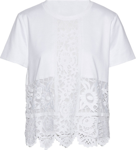 Valentino Guipure lace-paneled cotton-jersey top