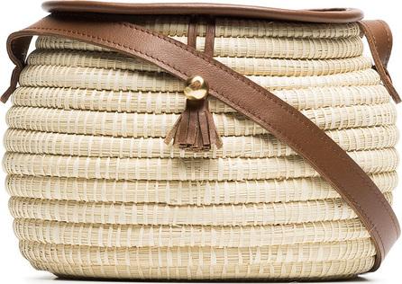 Sensi Studio Natural oval straw shoulder bag