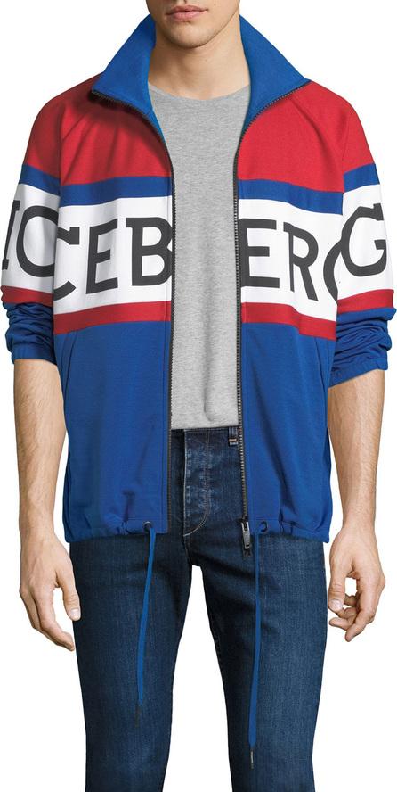 Iceberg Men's Logo-Print American-Striped Fleece Zip-Front Jacket