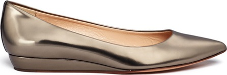 Fabio Rusconi Mirror leather wedge pumps