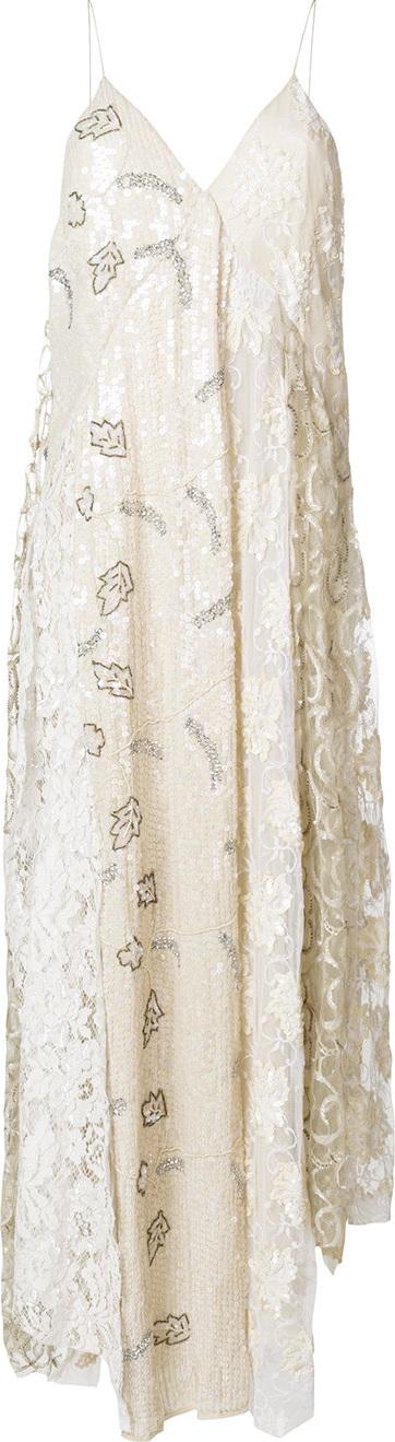 Erika Cavallini Lace-panelled printed dress