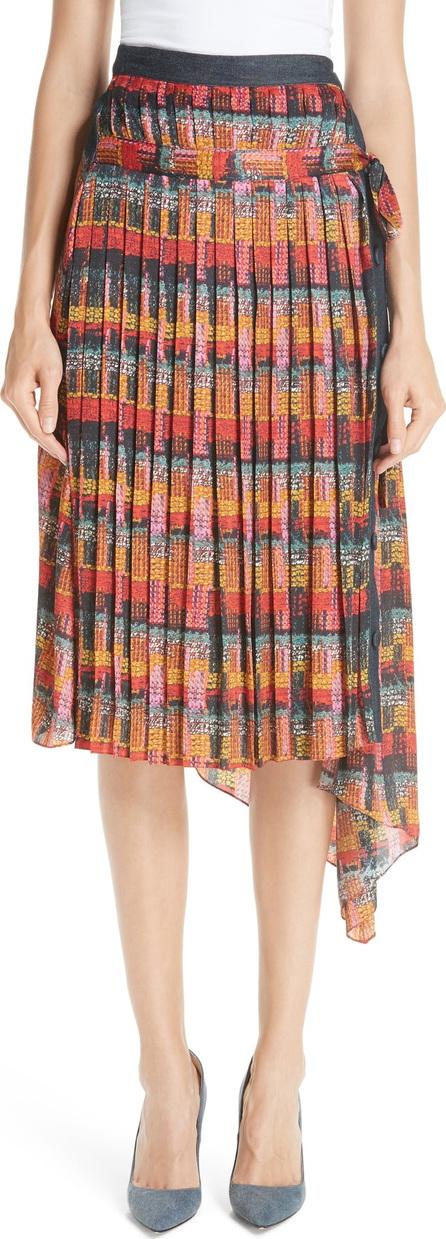 Adam Lippes Print Satin Chiffon Pleated Skirt