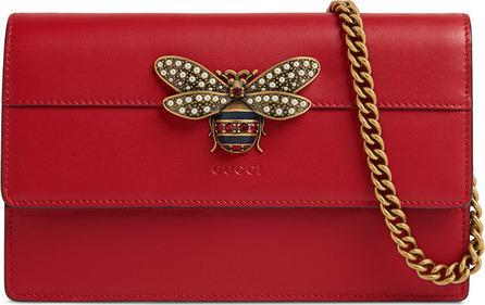 Gucci Queen Margaret Leather Bee Wallet On Chain Bag