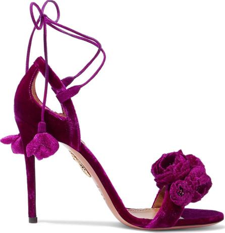 Aquazzura Wild Flower appliquéd velvet sandals