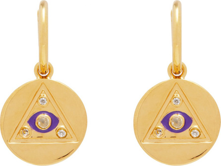 Theodora Warre Gold-plated and rainbow moonstone drop earrings