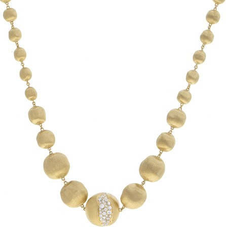 Marco Bicego Africa 18k Gold Graduating Bead & Diamond Necklace