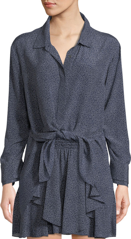 HALSTON HERITAGE Ruched-Sleeve Dot-Print Tie-Front Shirt