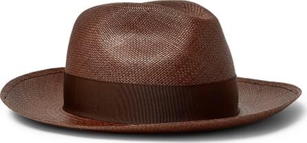 Borsalino Grosgrain-Trimmed Straw Panama Hat