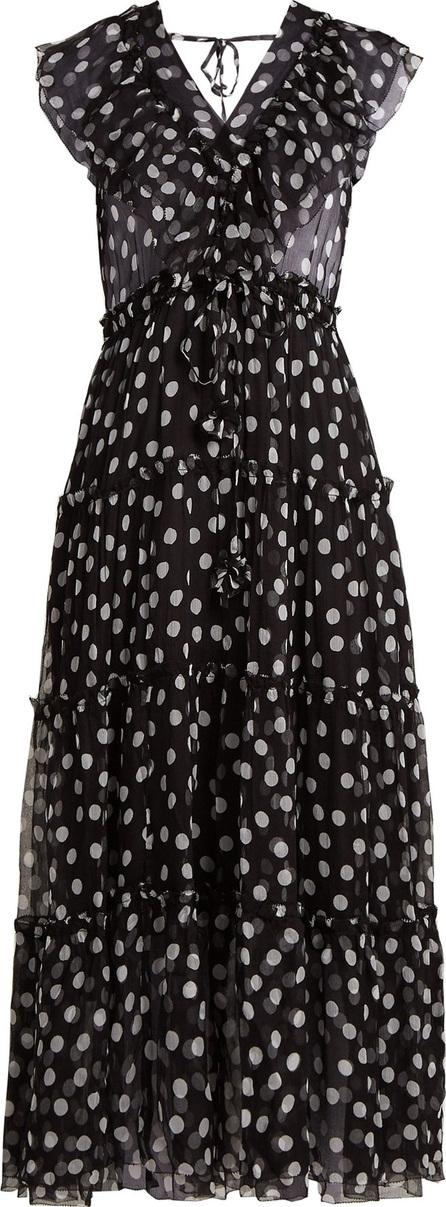 Lee Mathews Mansfield polka-dot V-neck silk dress