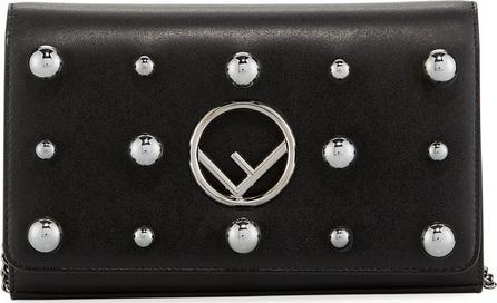 Fendi F Logo Studded Calf Liberty Wallet Crossbody Bag