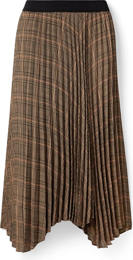 By Malene Birger Balsash wrap-effect pleated checked woven midi skirt