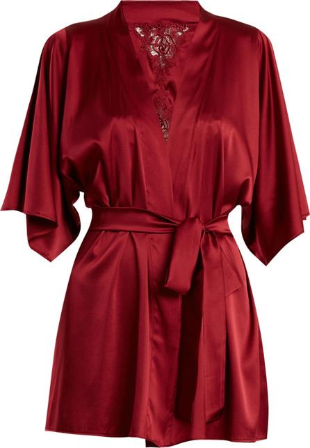 Fleur of England Lace-detail silk-blend short robe