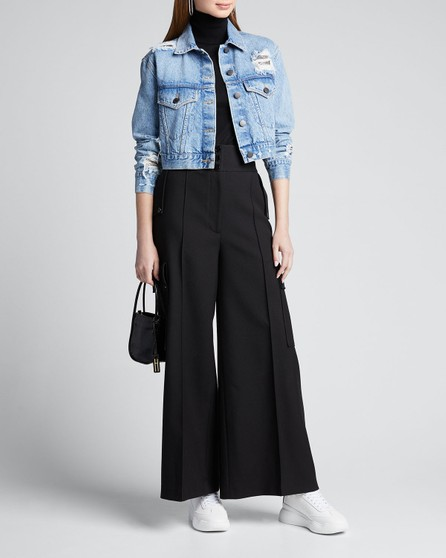 Alice + Olivia Distressed Boyfriend Crop Jacket w/ Chainmail