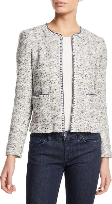 Rebecca Taylor Speckled Hook-Front Tweed Jacket