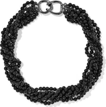 Kenneth Jay Lane Gunmetal-tone bead necklace