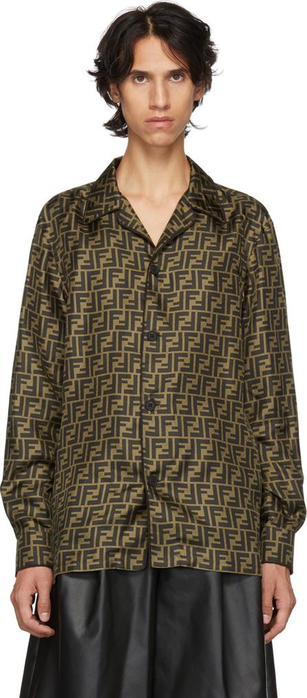 Fendi Brown & Tan Silk 'Forever Fendi' Shirt