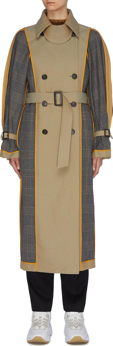 Enfold Reversible belted houndstooth check plaid panel trench coat