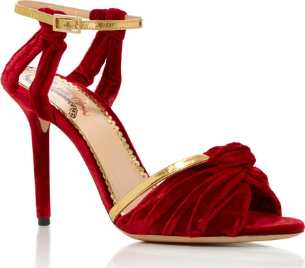 Charlotte Olympia Broadway Leather-Trimmed Velvet Sandals