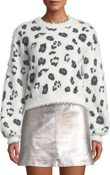 cupcakes and cashmere Huxley Leopard Jacquard Cropped Sweater