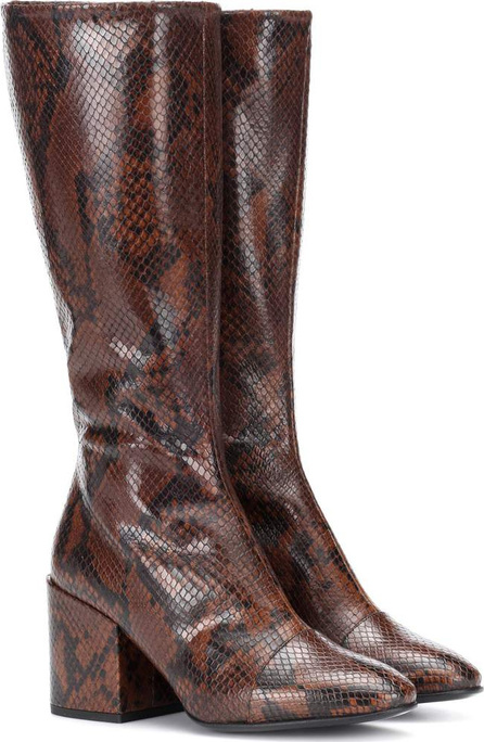 Snake-embossed leather boots
