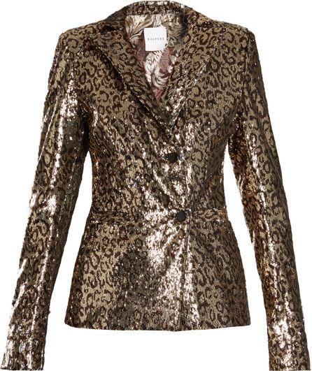 Halpern Sequin-embellished notch-lapel blazer