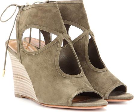 Aquazzura Sexy Thing Wedge 85 suede sandals