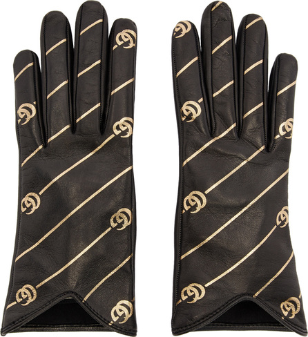 Gucci Black & Gold Leather GG Gloves