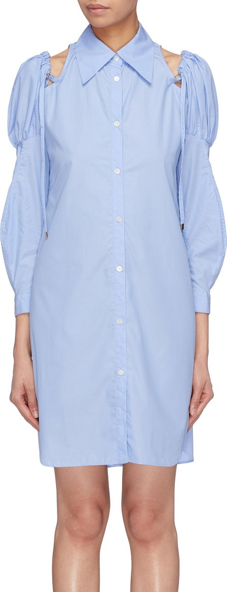 Akiko Aoki Cold shoulder puff sleeve shirt dress
