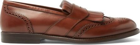 Brunello Cucinelli Brogue-Detailed Leather Kiltie Loafers