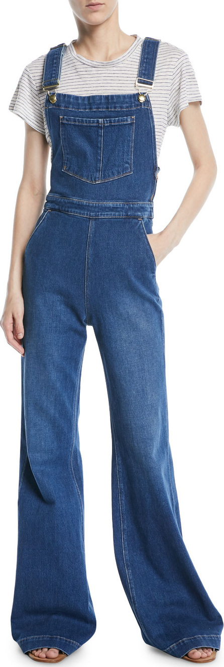 FRAME DENIM Wide-Leg Denim Overalls