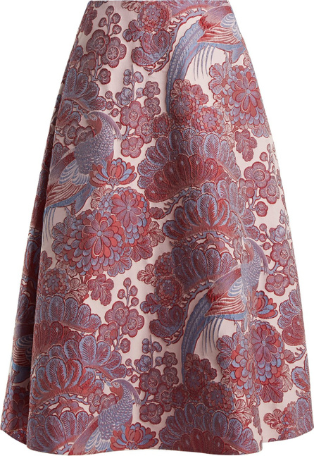 Erdem Thea blossom and bird-jacquard midi skirt