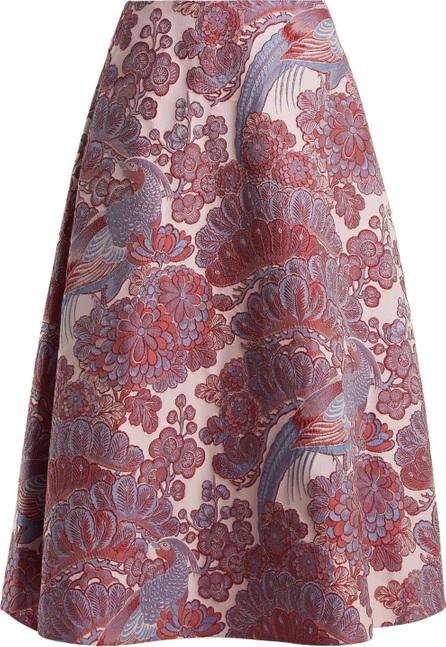 Erdem Thea blossom and bird-jacquard midi skirt