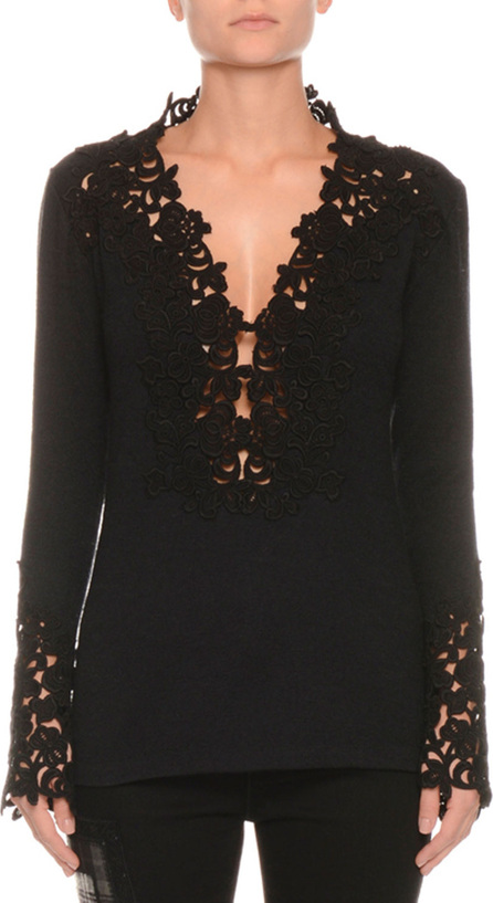 Ermanno Scervino Long-Sleeve V-Neck Floral-Lace Pashmina Top