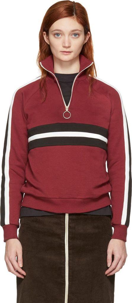 Harmony Burgundy Striped Sidonie Zip Sweater