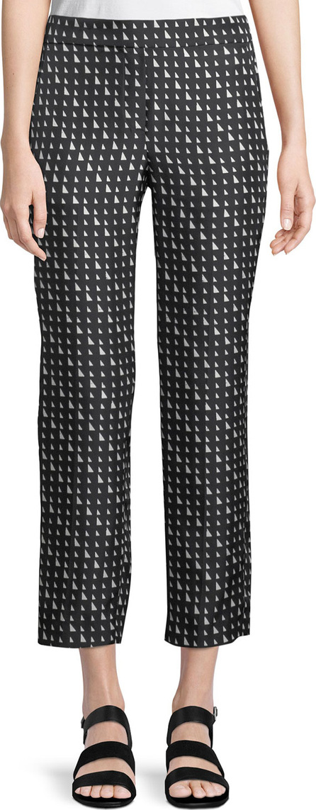 Theory Triangle-Print Silk Pull-On Trousers