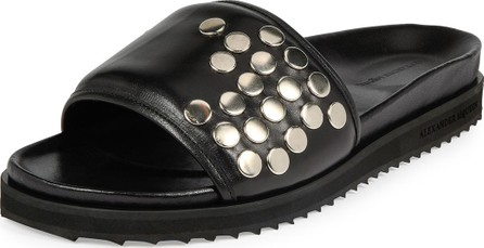 Alexander McQueen Men's Studded Leather Slide-On Sandals, Black
