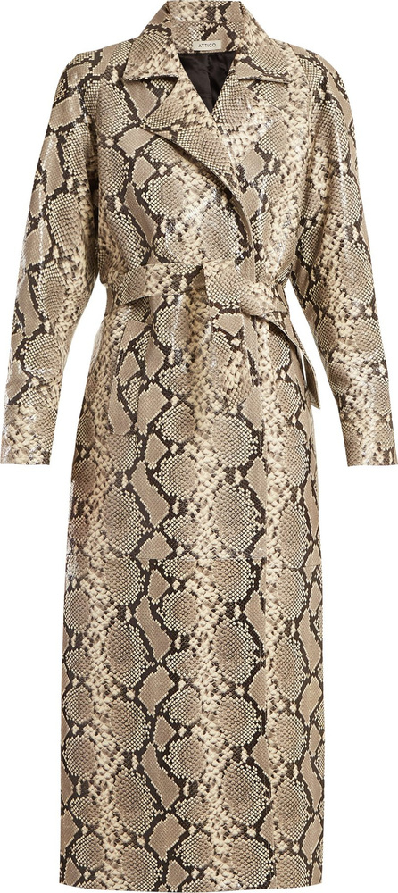 Attico Python-print belted leather coat