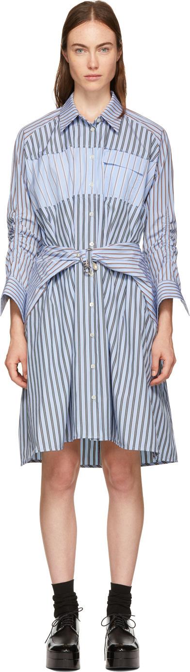 Carven Blue Stripe Mix Shirt Dress