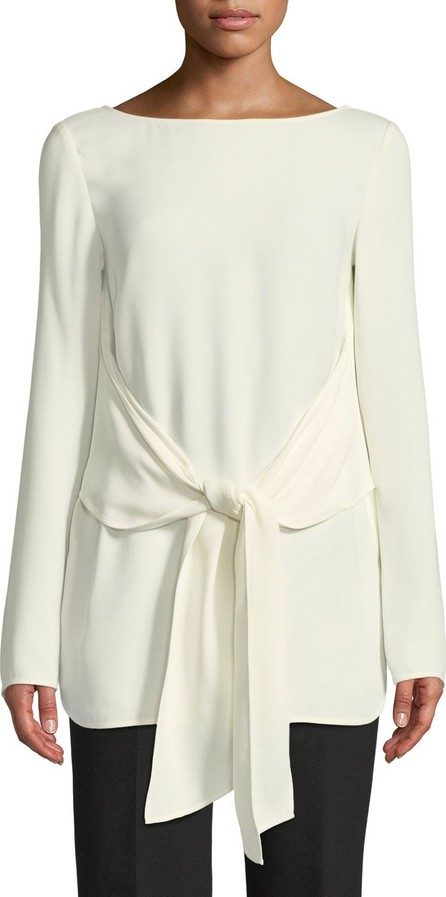 St. John Long-Sleeve Tie-Waist Georgette Top