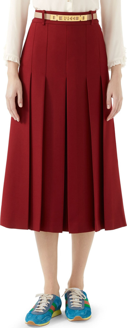 Gucci Logo Belt Pleated Midi Skirt