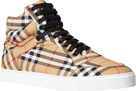 Burberry London England Men's Reeth Signature Check Canvas High-Top Sneakers